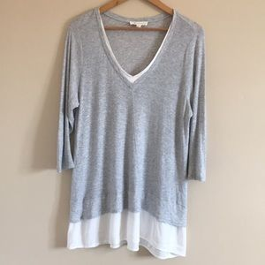 Two by Vince Camuto   Grey Layered V-Neck Top